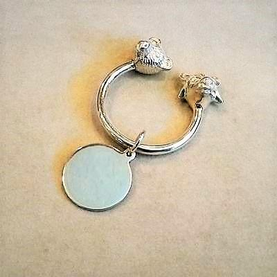 Sterling Silver Bull & Bear Key Ring w/Tag