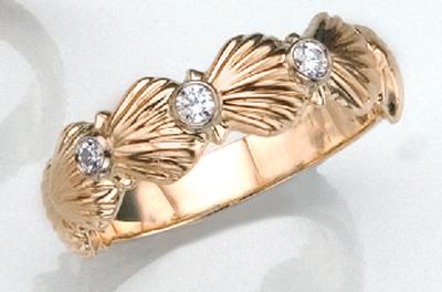 Diamond Scallop Shell Ring