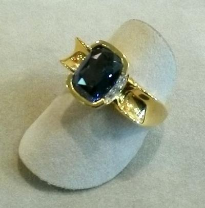 Color-Change Sapphire & Diamond Ring