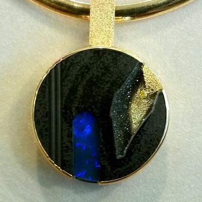Drusy & Black Opal Circle Pendant