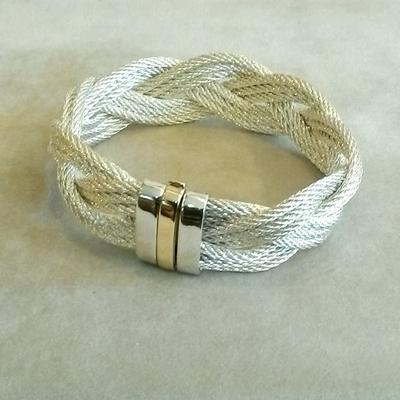 Sterling Silver-14KY Gold Cable Braid Bracelet