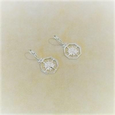 Sterling Compass Rose Pierced Earrings