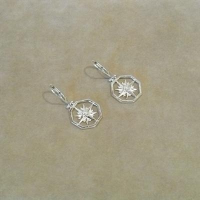 Sterling Compass Rose Pierced Earrings