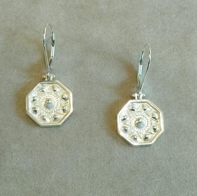 Sterling Sailor's Valentine Pierced Earrings