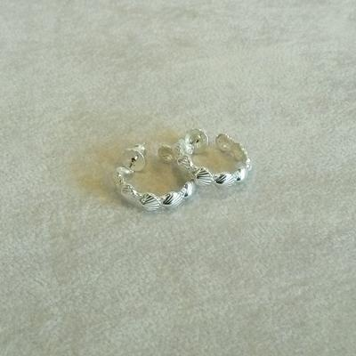 Sterling Scallop Shell Hoop Pierced Earrings