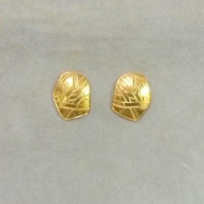 """22KY """"Bamboo"""" Pentagon Pierced Earrings"""