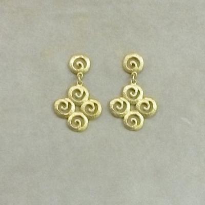 """18KY """"Sciarocco"""" Dangle Pierced Earrings"""