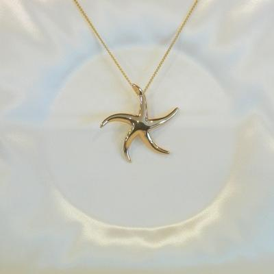14KY Large Hi-Polish Starfish Pendant