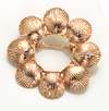 14K Yellow Gold Scallop Shell Circle Pin