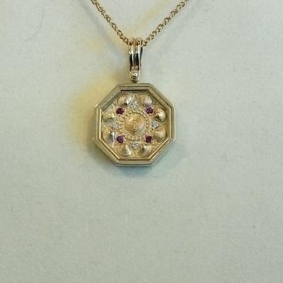 Small Ruby & Diamond Sailor's Valentine Pendant