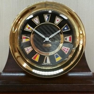 Brass Nautical Black Flag Desk Clock