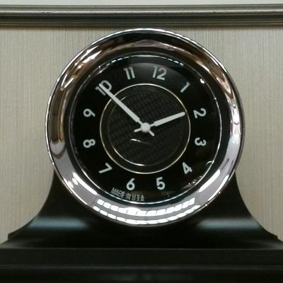 12-Hr. Chrome/Black Face Quartz Clock