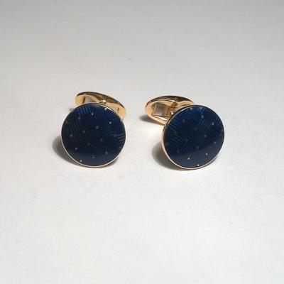 18KY Blue Enamel Cuff Links- Great colors