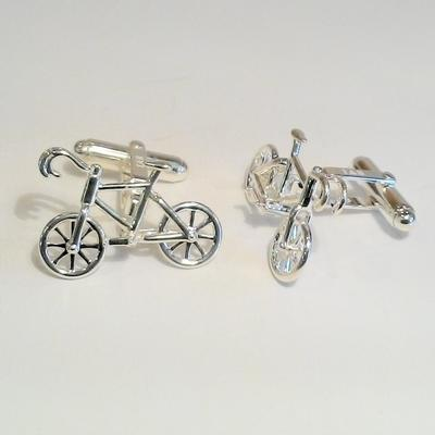 Sterling Silver Bicycle Cuff Links
