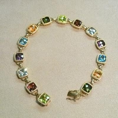 14KY Multi-Stone Stunning Link Bracelet