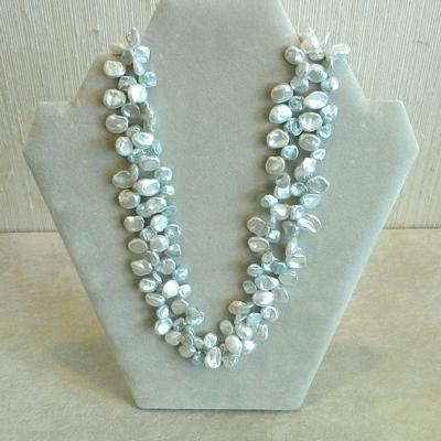 2 Strand Dyed Blue/White Fresh Water CP Necklace