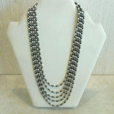 "S/S Ruthinium 17"" Rice Bead 5 String Necklace"