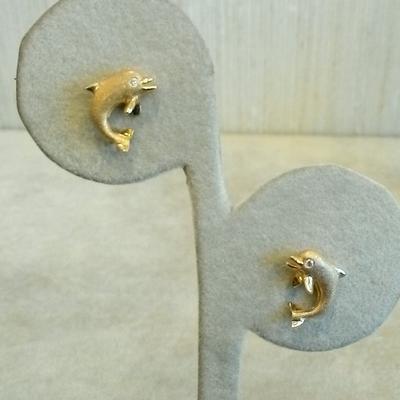 14KY Jumping Dolphin Earrings w/ Diamonds