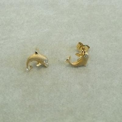 14KY Jumping Dolphin Earrings w/ Diamonds