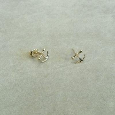 14K Gold Tiny Anchor Pierced Earrings