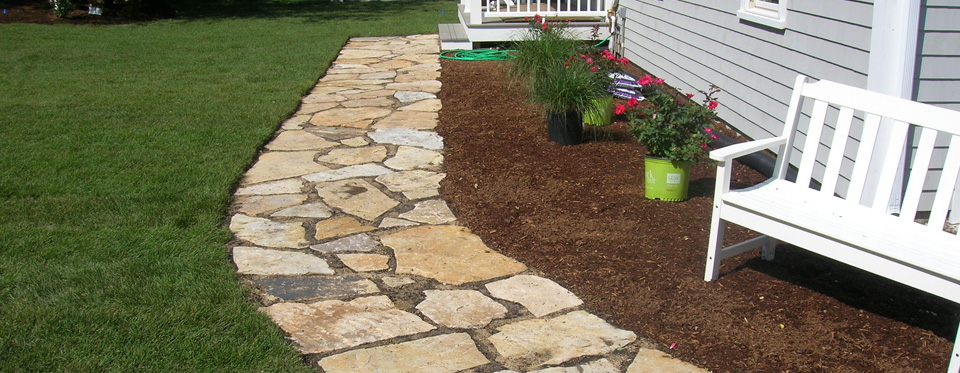 Cape cod patios walkways and outdoor living space Natural stone walkways