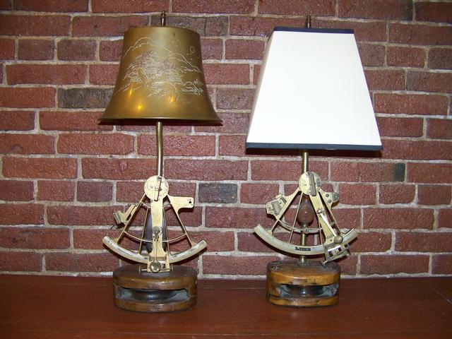 Pair of Sextant & Block Lamps item na5412
