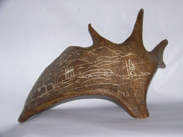 Inuit Carved Picture on Moose Horn Signed E O item ai5412