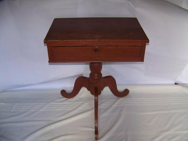Pine Single Drawer Table Original Red Paint item fu5406