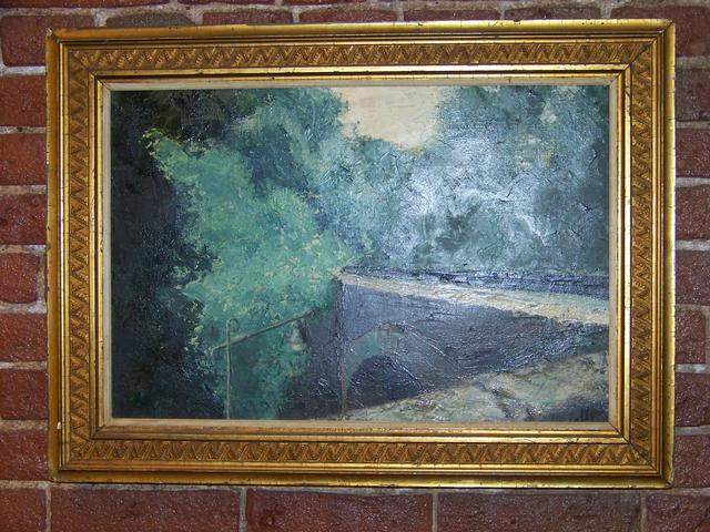 OC Bridge and Green Trees Signed Unclear Modern Impressionist item pa5411