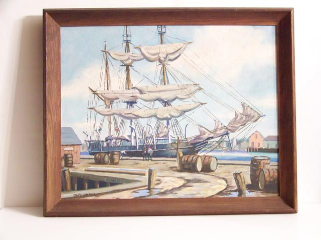 OC Ship at Dock New Bedford Artist Joan W Anderson item ma5407