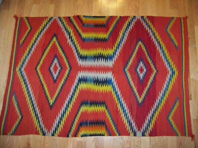 Spectacular Navajo Colorful Eye- Dazzler Rug Circa 1890 item nr5424