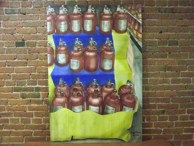 OB Large Painting Wine Bottles Prov. Joe Tecce's Boston item pa5420