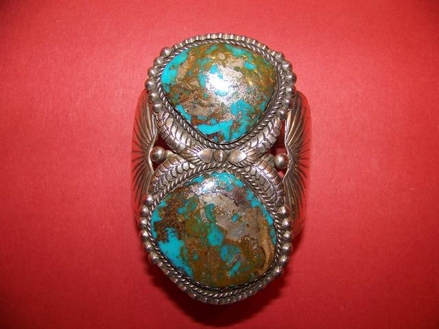 Fine Native American Old Blue Gem Turquoise Cuff Bracelet Signed M.A. item ai5421