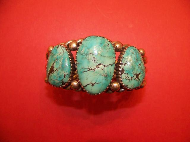 Native American Turquoise Cuff Bracelet Signed M T item ai5422