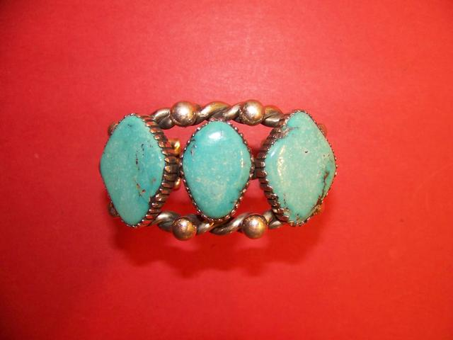 Three Stone Turquoise Native American Cuff Bracelet signed m t. item ai5423