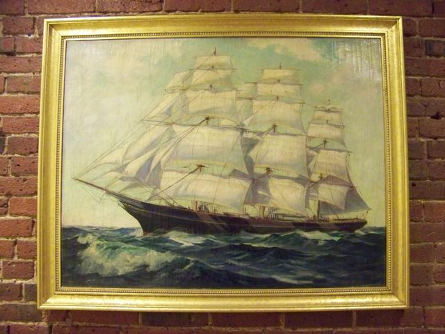 O/C Painting Clipper Ships Sailing through Heavy Seas Signed L Chaney item ma5419