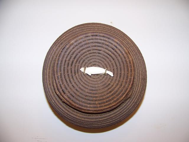 Eskimo/Inuit Fiber-Sweet Grass Basket With a Carved Seal on Lid item ai5428