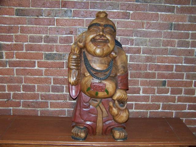 Happy Buddha Carved Wood Figure item aa5402