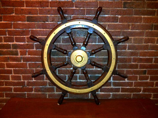 Brass & Wood Ship's Wheel item na5405