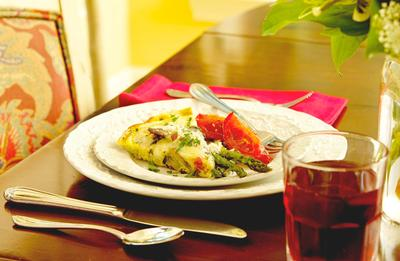 Olive Oil Vegetable Frittata with Roasted Asparagus & Tomatoes