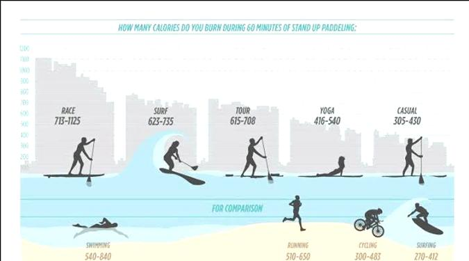 SUP paddleboard fitness calorie burn chart